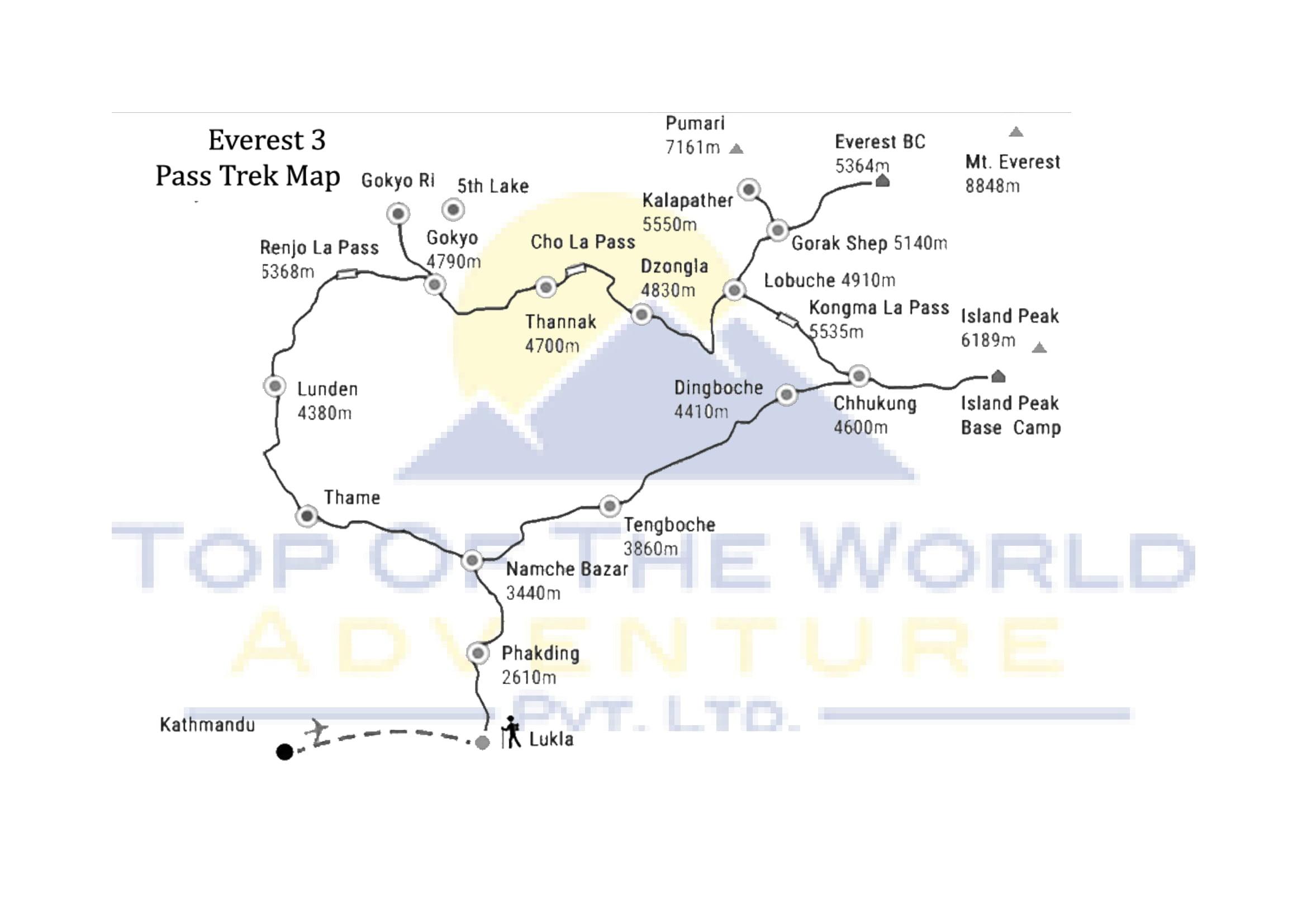 18 Days Everest 3 pass Trek map