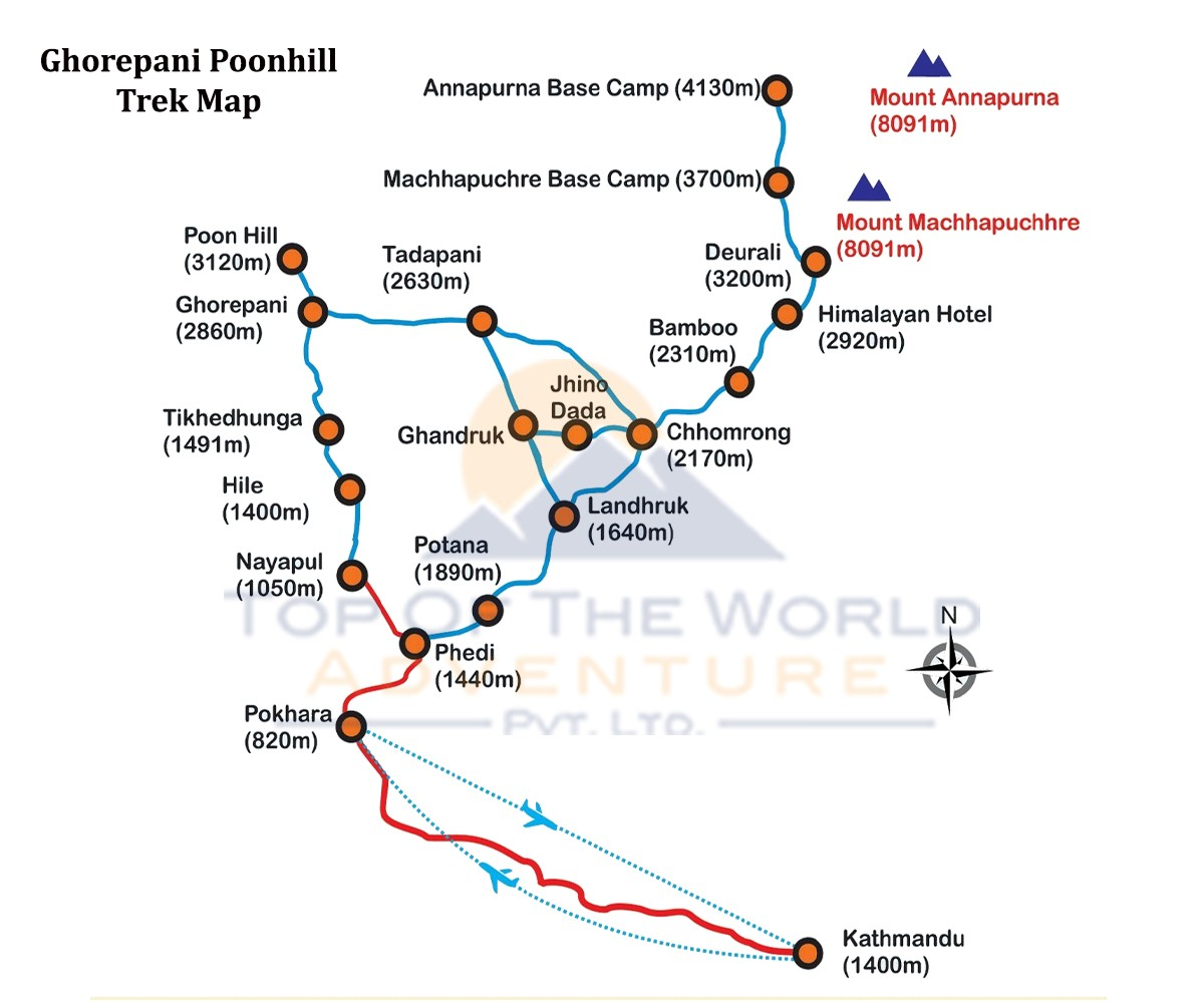 Poonhill Trek With Hotspring map