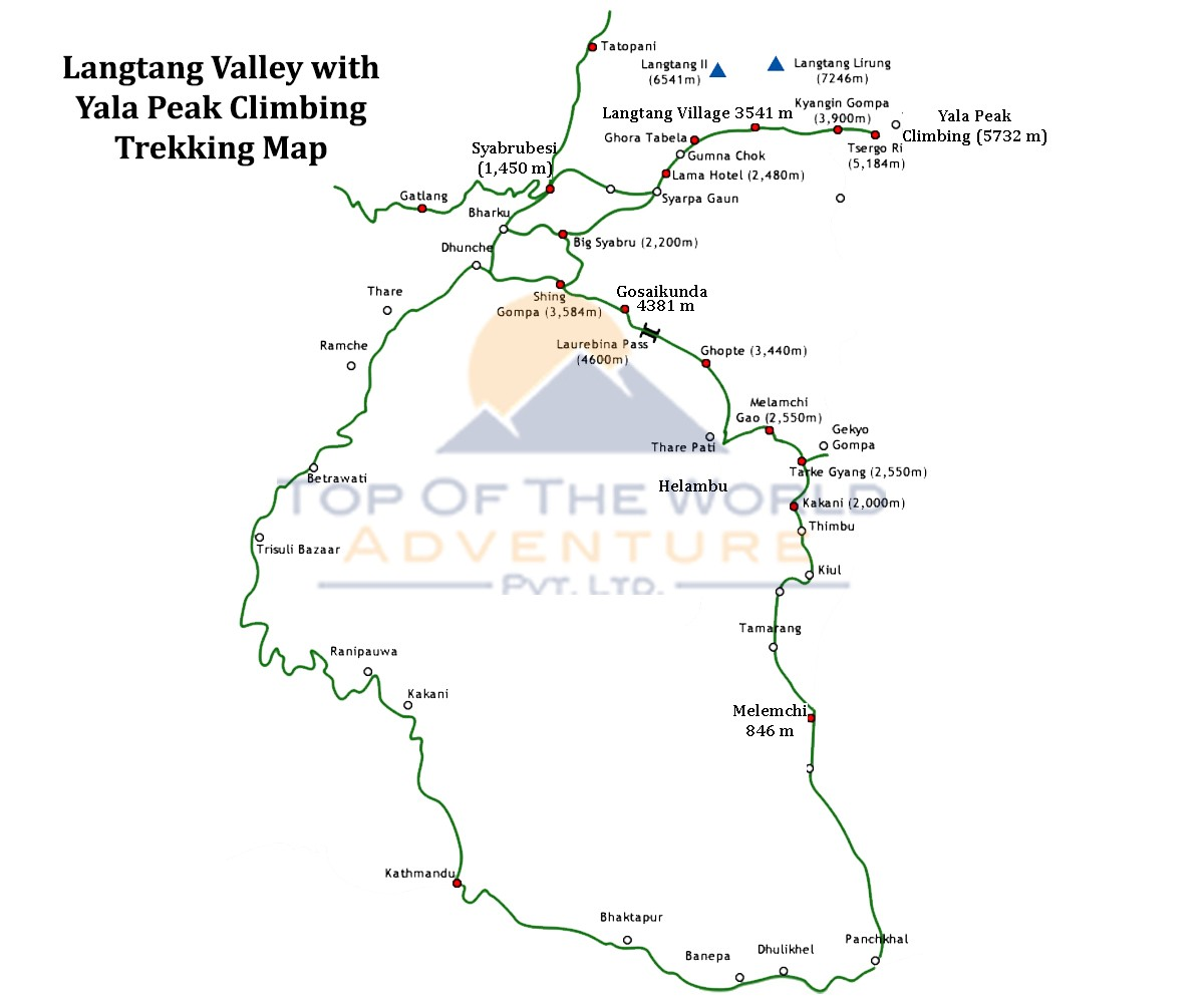 Langtang Valley Trek with Yala Peak Climbing map
