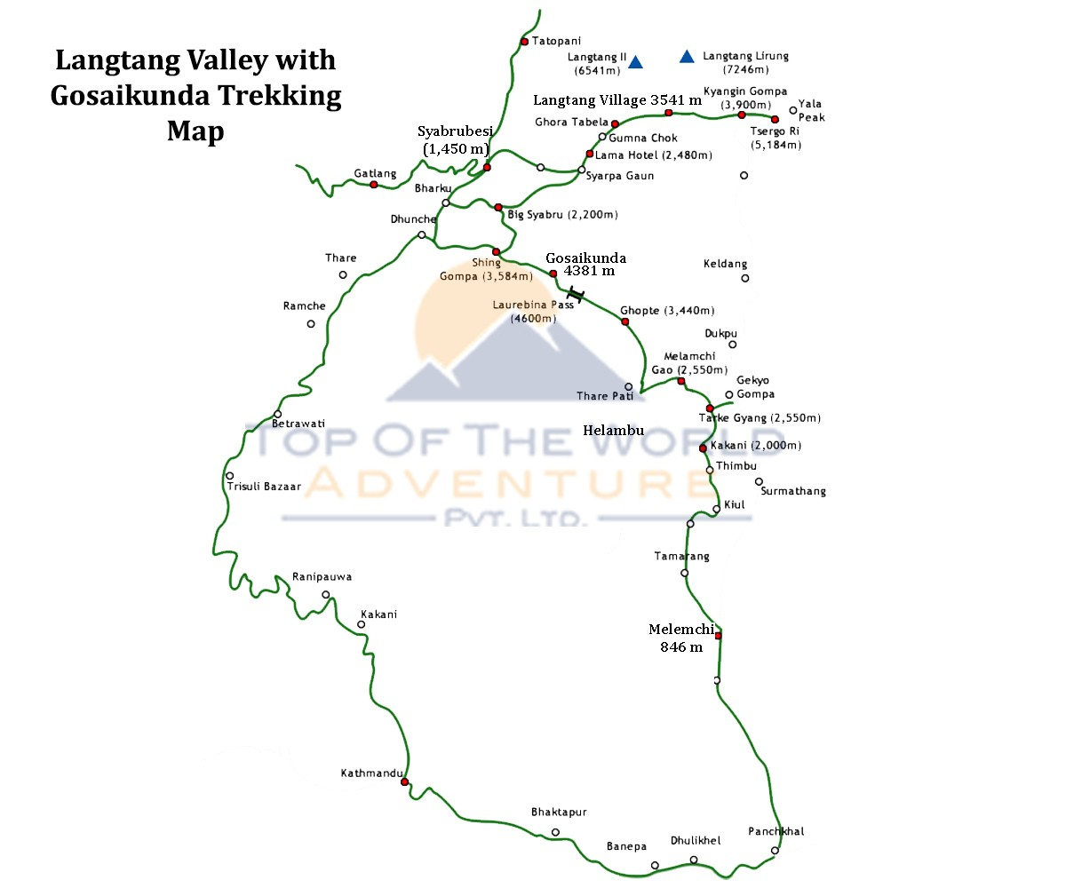 Langtang Valley with Gosaikunda Lake Trek map