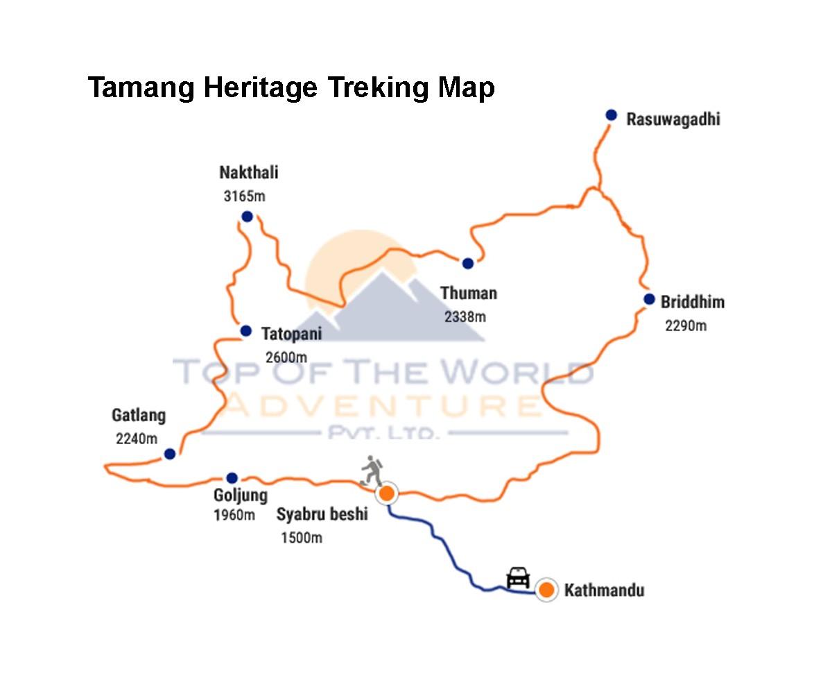 Tamang Heritage Trip map