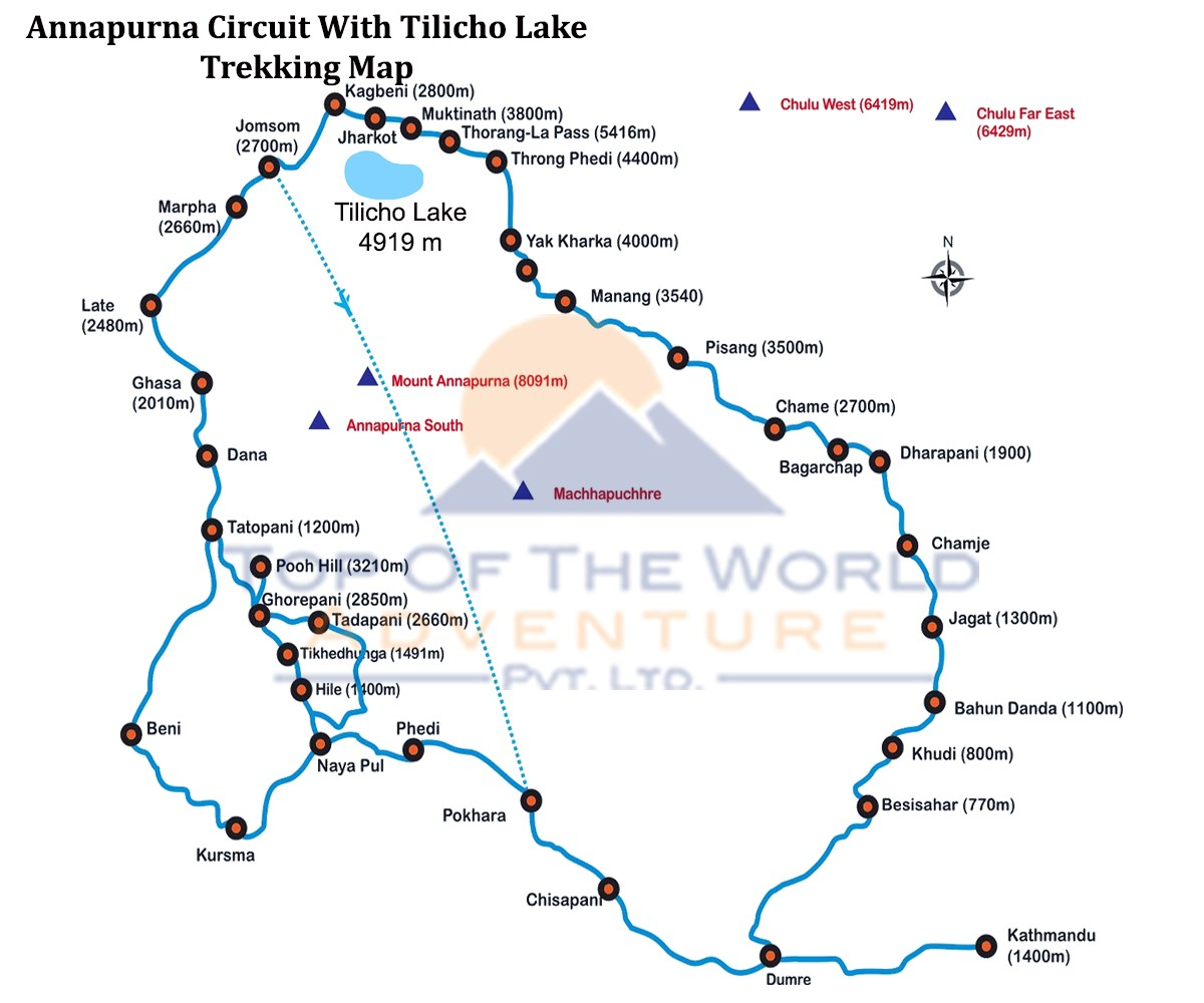 Annapurna Circuit with Tilicho Lake Trek map