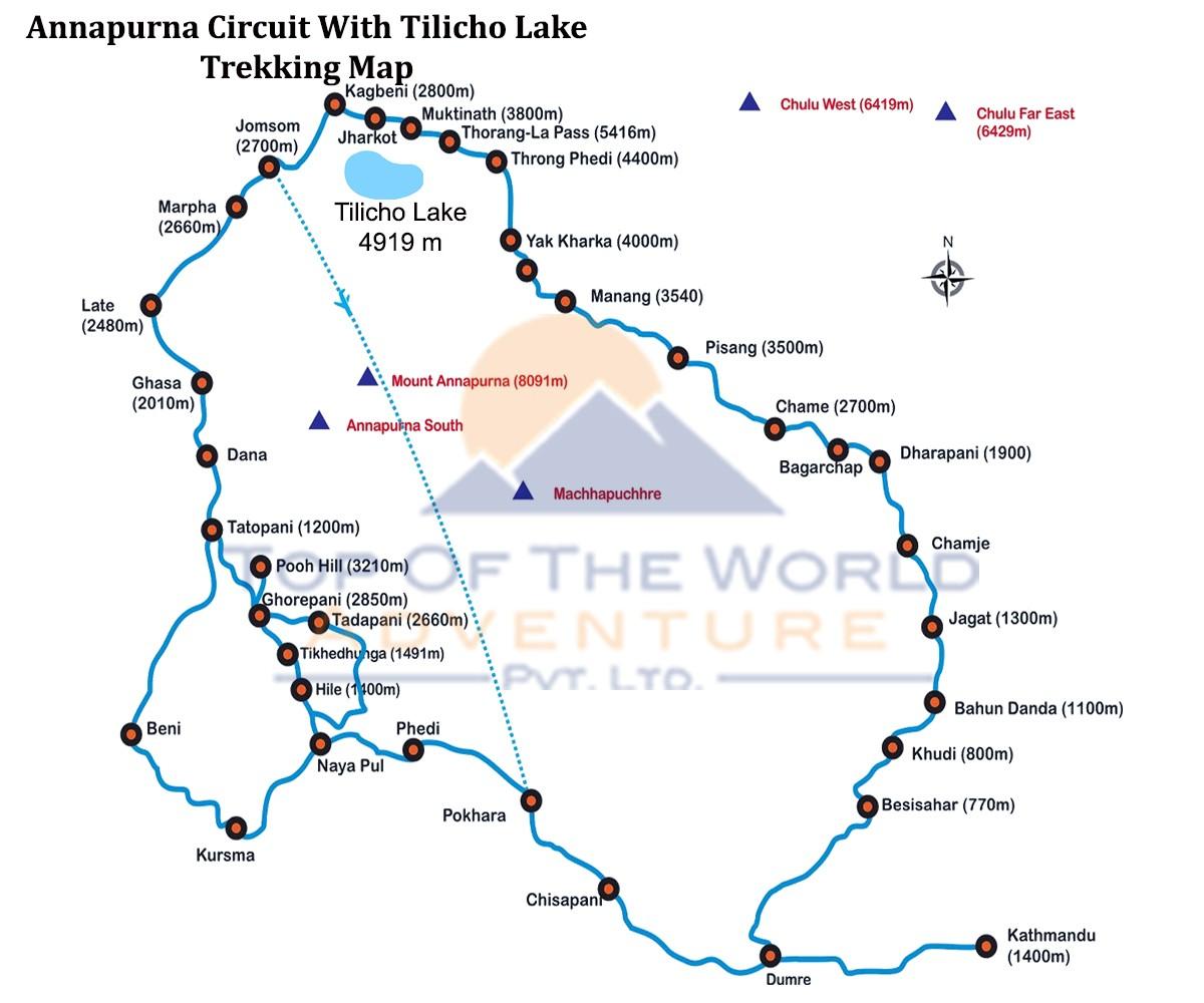 Annapurna Circuit with Tilicho Lake Trek map