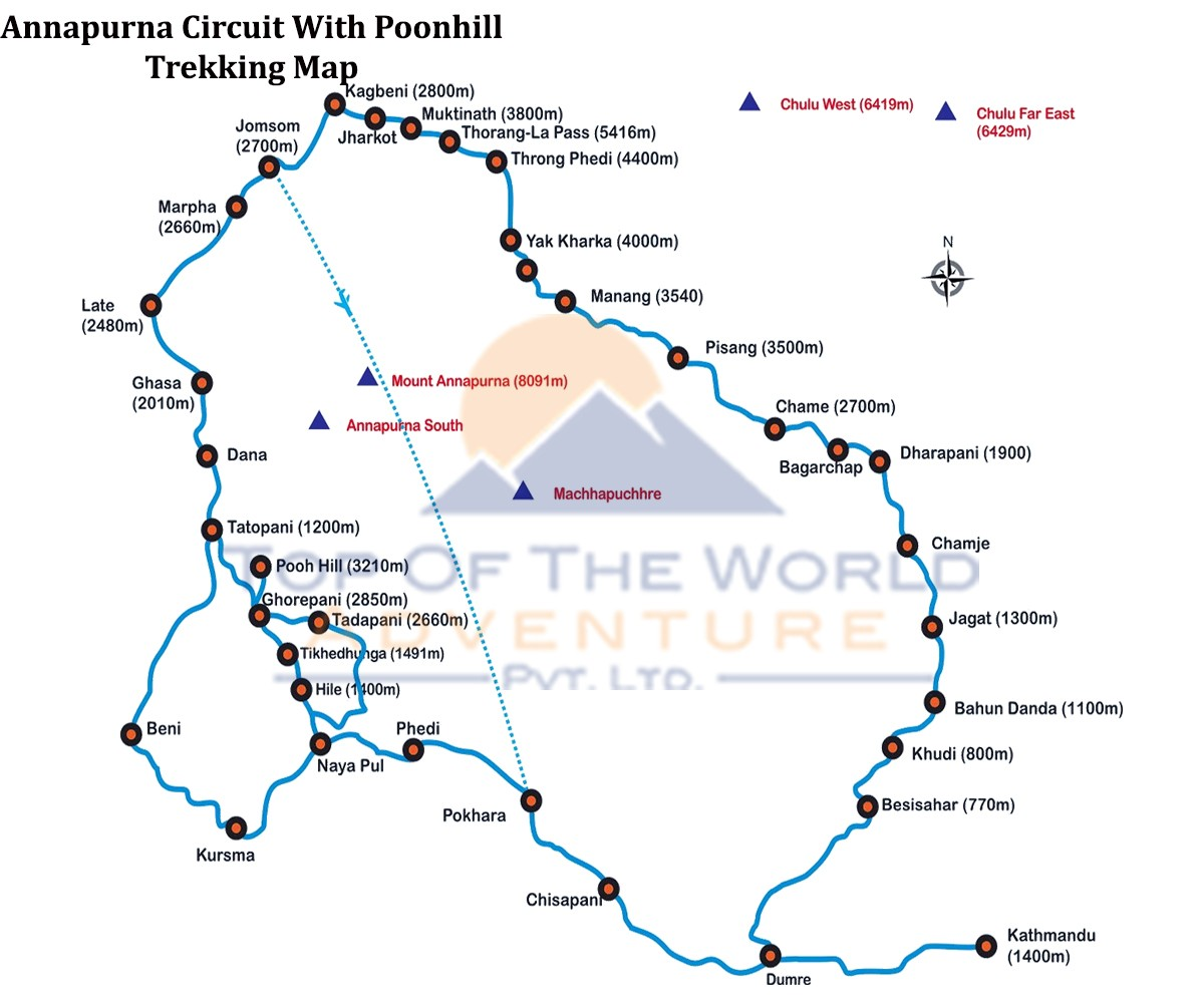Annapurna Circuit Trek with Poonhill map