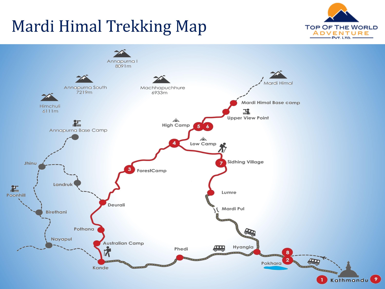 Mardi Himal Trek map